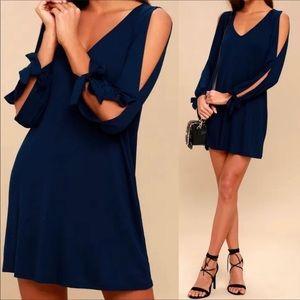 Lulu's Blue Long Open Sleeve Shift Dress